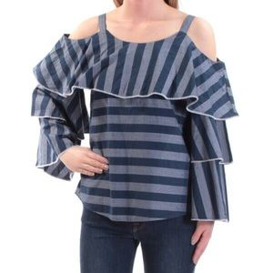 INC Off the Shoulder Ruffled Striped Blouse